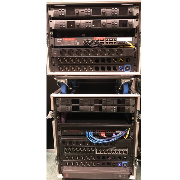 Belden Opticalcon Blackmagic Fiber Transmitter and Receiver Rack with Dante Opticalcon
